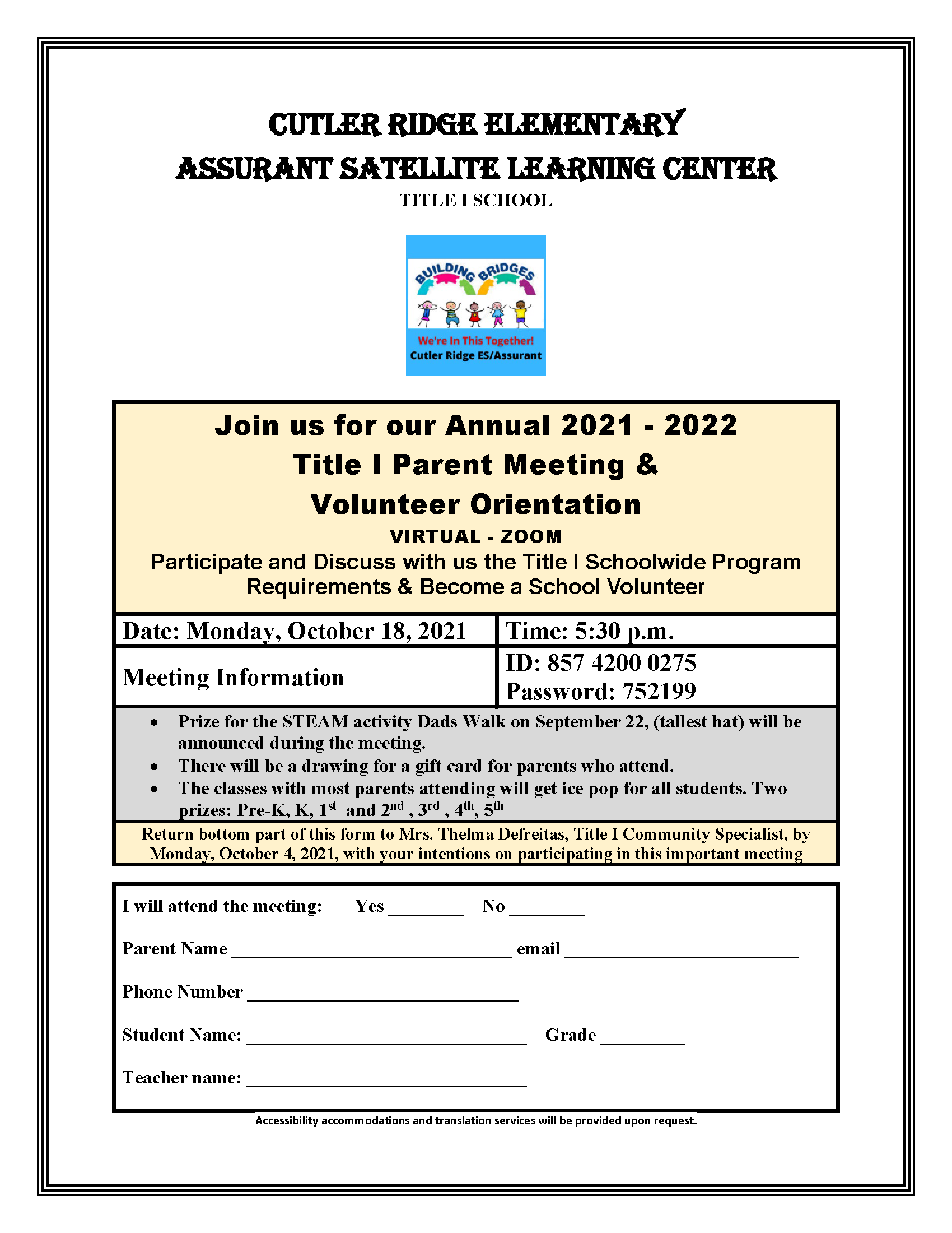 Title I Parent Meeting and Volunteer Orientation